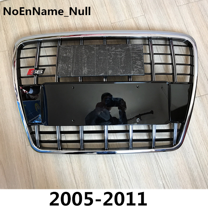 Silver Insert Mesh Grille Auto Grills For Audi A6 Quattro Styling C6 2005-2011 S6 Style Chrome Front Hood Bumper Grill Grille partol mesh grill insert grille front bumper mesh grill forjeep wrangler jk 2dr 4dr 2007 2017 car styling with glared eagle eye