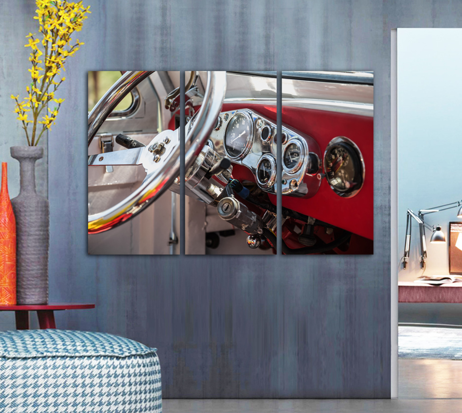Selling Free shipping 3 panel paint color auto car power engine wheel art Home Decoration Canvas Poster Print unframed FA306