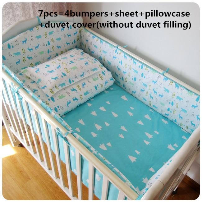 Promotion! 6/7PCS Baby Cot Bedding Set Baby Nursery Cot Bedding Crib Bumper , 120*60/120*70cm