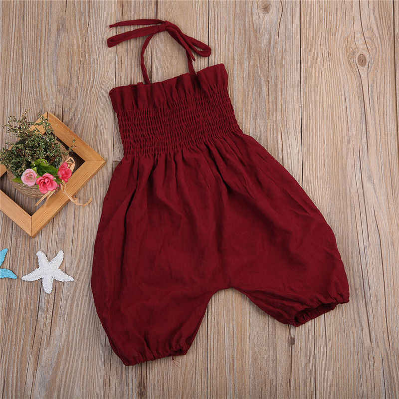 a075b95e33a3 ... Wine Red Newborn Toddler Kids Girl Romper 2017 Summer Sleeveless Strap  Jumpsuit Elastic Corset Children Clothes