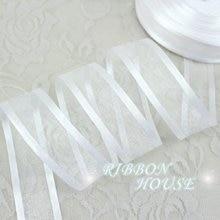 Rubans organza blancs, 1 ''(25mm), 50 yards/rouleau, emballage décoratif en gros