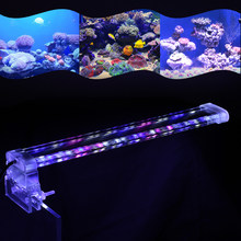 Aquarium LED Lamp 28CM 3 Color Clamp Clip-on Lamp High Light LED Bar SMD5730 Fish Tank Blue+White+Pink Lighting Tube(China)