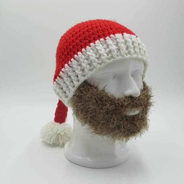 17da2e5928e placeholder Novelty Beard Santa Claus Beanies Men s Women s Funny Christmas  Crocheted Hats Xmas Party Mask Handmade Winter
