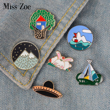 Go camping enamel pin Tree house Tent Mountain badge brooch Lapel pin for Denim Jean shirt bag Cartoon Jewelry Gift for kids(China)