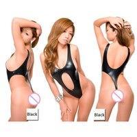 Women S Sexy Faux Leather Thong One Piece Swimwear Backless High Cut Swimsuit Micro Women Bathing