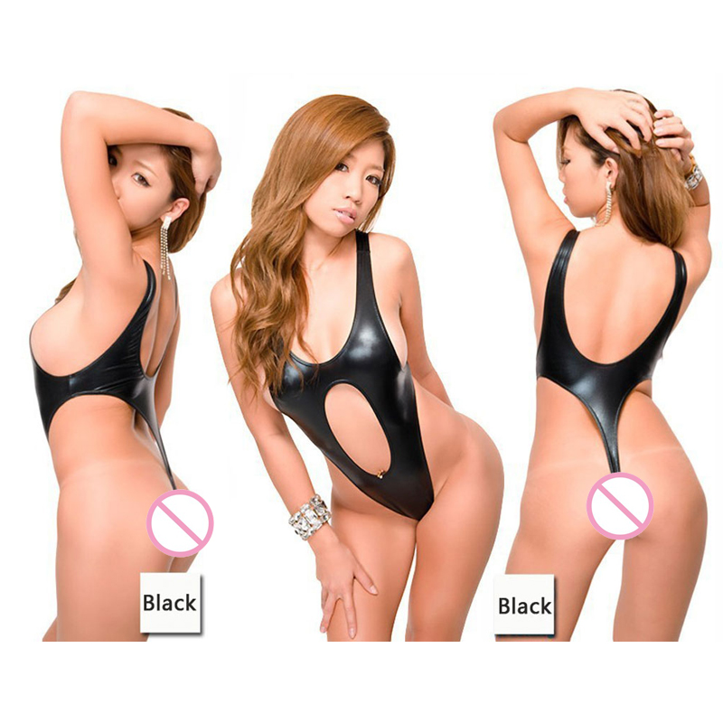 Sexy Women Plus Size Faux Leather Thong One Piece Swimwear Backless High Cut Swimsuit Mi ...