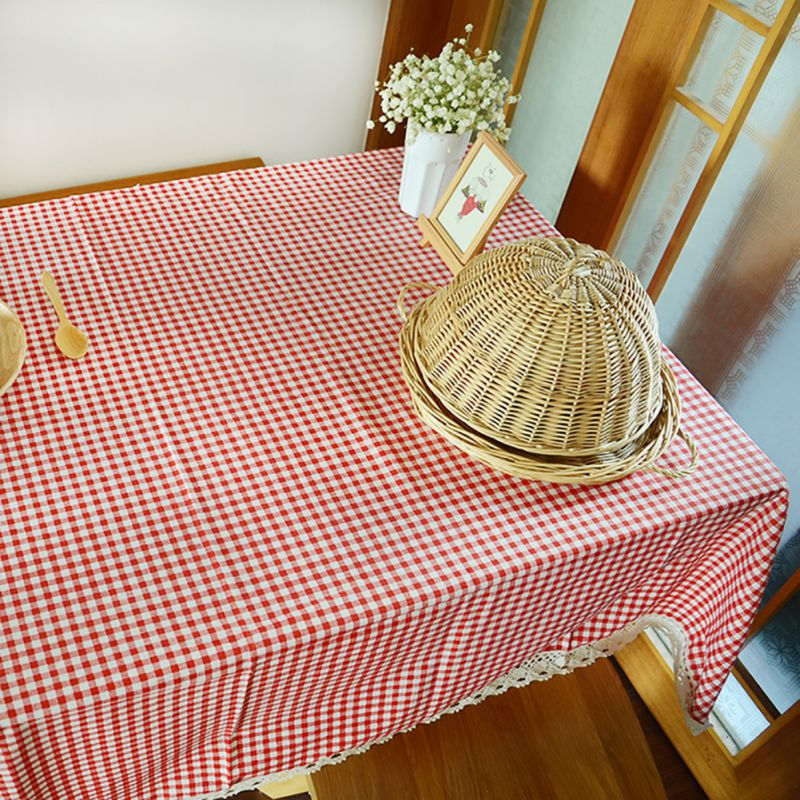 Pastoral Style Tablecloths Lace Plaid Cloth Table cover For Living ...