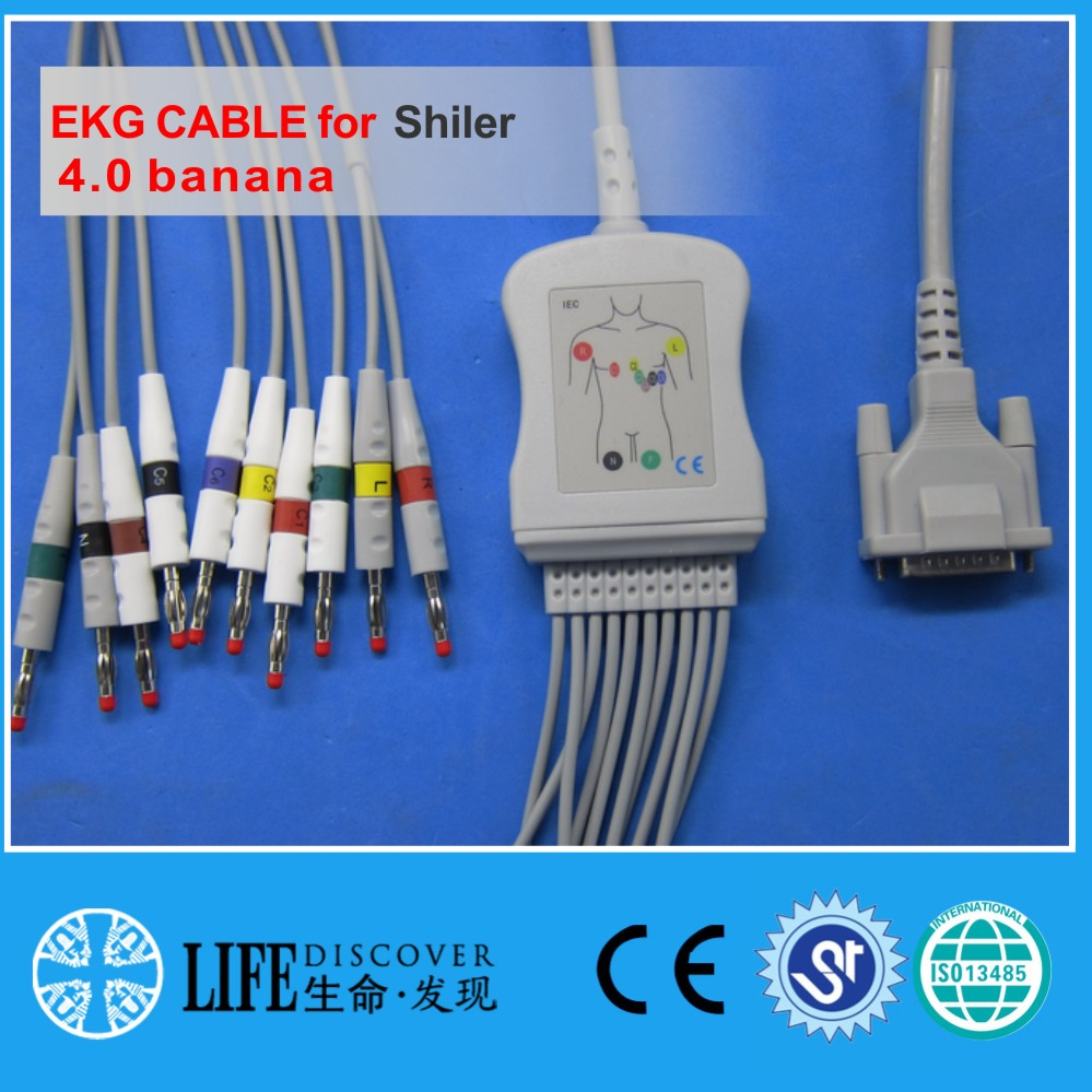 One Piece EKG Cable With 10leads For Schiller AT3,AT5,AT6, 10K Restistance