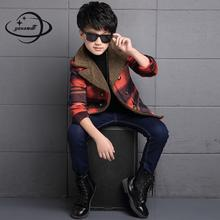 YAUAMDB kids wool coat 2017 winter autumn 6-14Y boys solid outerwear cotton children plaid clothes double breasted clothing y65
