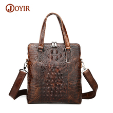 JOYIR Brand High Quality Genuine Leather Alligator Pattern Top-Handle Bags Designer Men Vintage Hard Handbag Business Briefcase