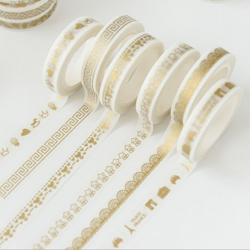 8mmX7m Cute Creative Print Gold Tape Notebook Sticker Decorative Tape Washi Tape School Supplies 30 Style JD39