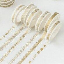 8mmX7m cute Creative print gold tape Notebook sticker Decorative tape washi tape School Supplies 30 Style JD39