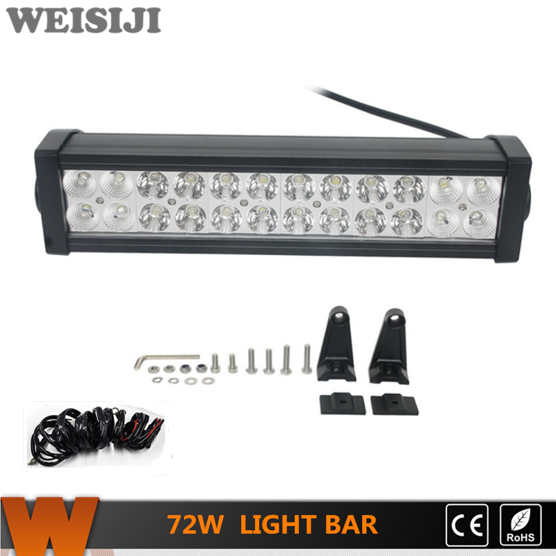 ФОТО WEISIJI 1Pcs 72w LED Driving Light Bar for Jeep Ford SUV ATV Train Truck Ship 4*4 Offroad LED Light Bar 13.5inch Spot/Flood Beam