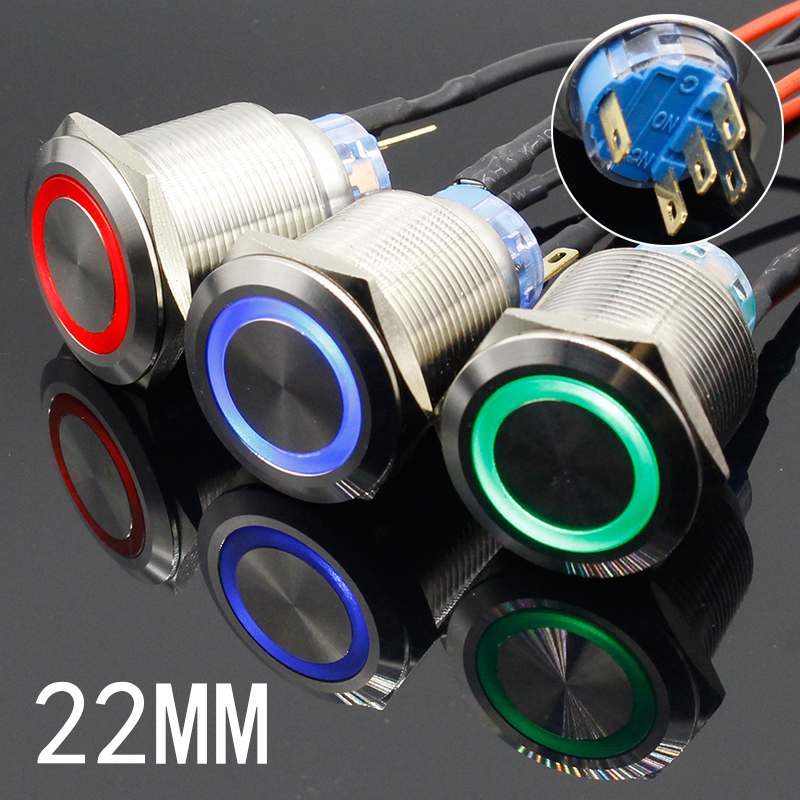 1PC Colorful Useful Durable 5V 12V 24V 220V 22mm LED Power Push Button Switch Momentary/Latching Waterproof Metal Self-Locking