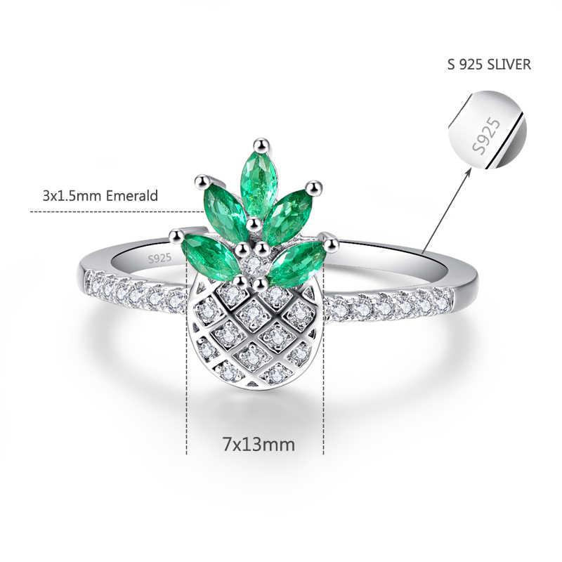 オリジナリティ 925 スターリングシルバー馬の目の形パイナップルリングジルコニア女性のための緑の葉ファッションウェディング婚約ジュエリー