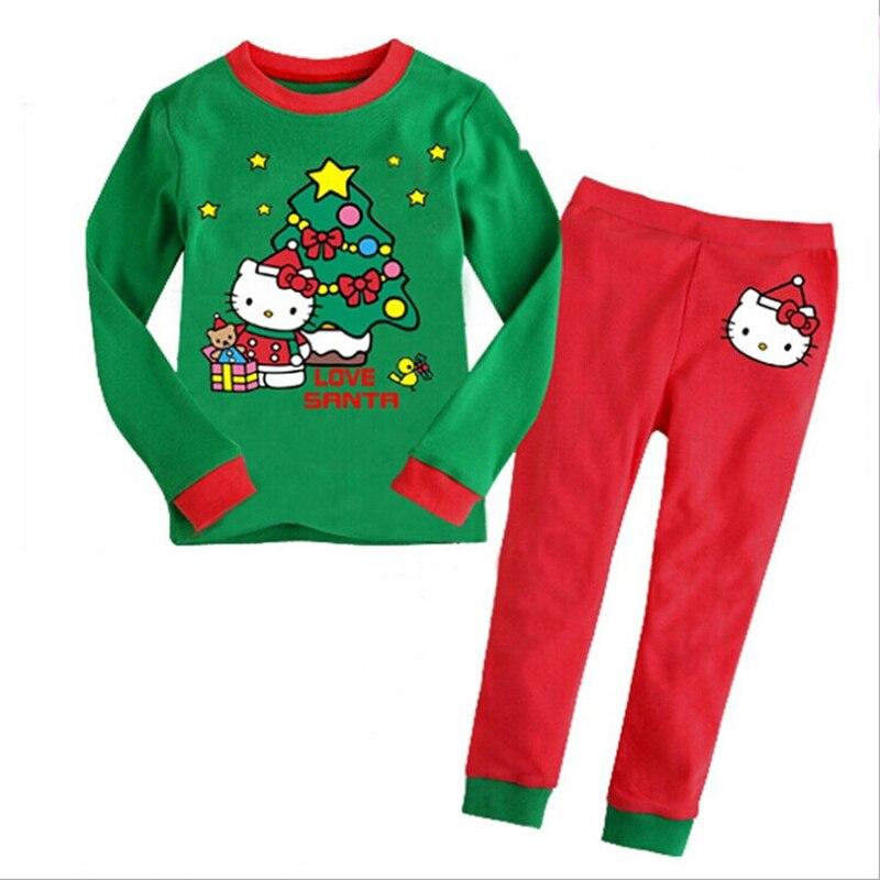 2017 Christmas Autumn Winter Kids Pajamas Sets Girls Hello Kitty Print Sleepwear Children Cotton Clothes Sets Baby Home Wear
