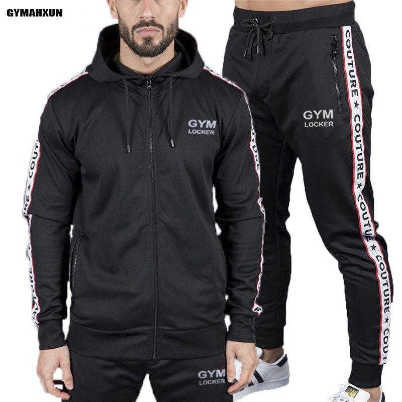 GYNAHXUN Gyms New men long pants Sets Fashion Sweatshirt sweat suits brand casual fitness Outwear Hoodie+jogger pants set mens