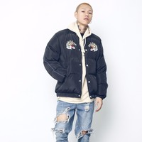 2017 Hiver Japonais Nouvelle Hommes de Mode Tigre Broderie Baseball Pain Vêtements Coton-rembourré Casual Veste Chaude Manteaux M-xl
