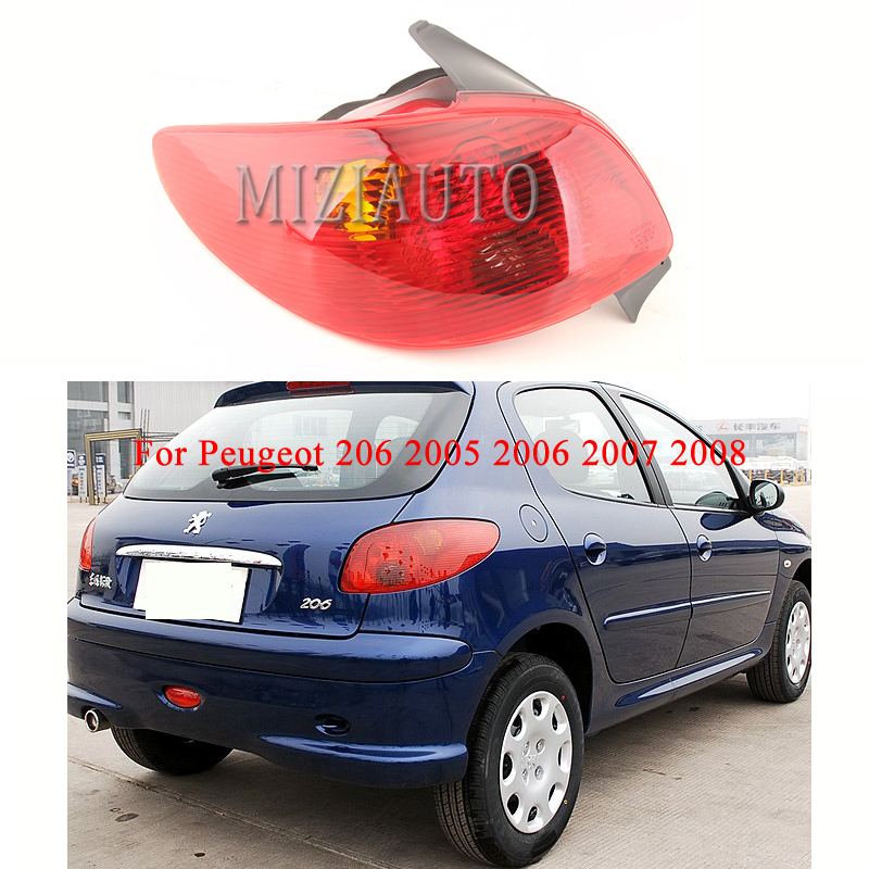 MIZIAUTO 1PCS Rear Tail Light For Peugeot 206 2005 2006 2007 2008 Signal Lamp Cover Braking Light Cover Warning Stop Car Styling