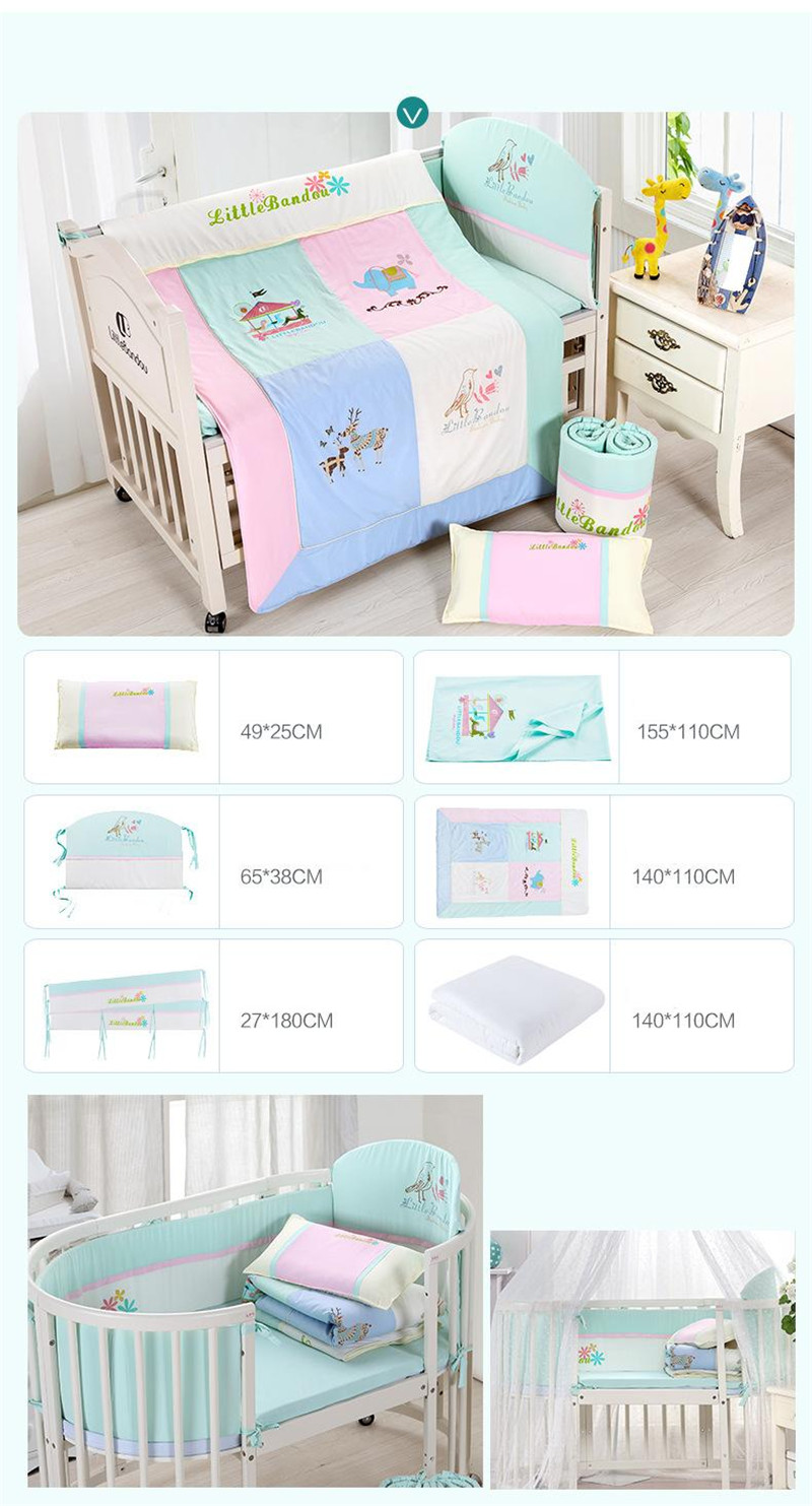 7 Pieces Baby bedding Sets Small Deer Button Printing Seven Sets Pillowx2+Bed Sheets+Bedside+Bed Cushions+ Quilt +Sheets Core10