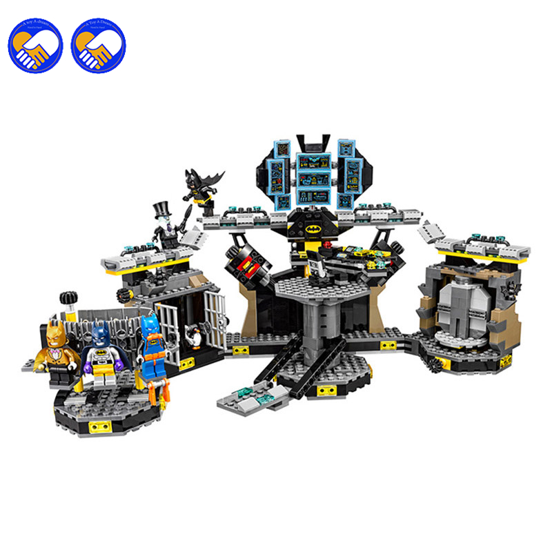 A toy A dream 1087pcs 10636 BATMAN MOVIE Batcave Break-in Building Blocks set DIY Bricks toys Gift for children With lepin 70909 l a movie