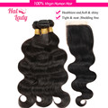 Halo Lady 7A Brazilian Virgin Hair With Closure 4 or 3Pcs Body Wave Hair Bundles With Lace Closures Remy Human Hair Weave Wavy