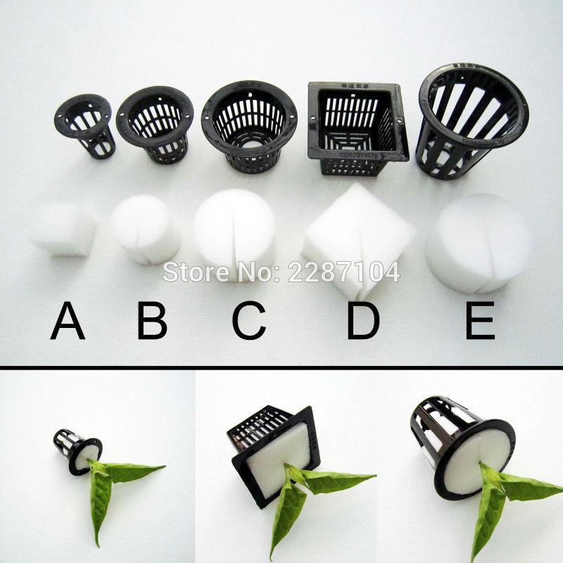 10pcs Black Mesh Pot Net Cup Basket + Clone Cloning Collar Foam Insert Hydroponic Vegetable Plant Grow Seed Germinate 5 size(China)