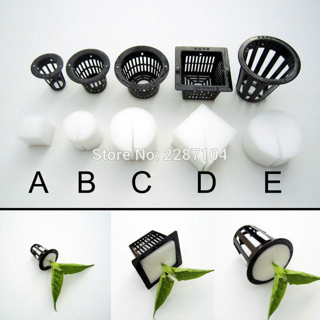 10pcs Black Mesh Pot Net Cup Basket + Clone Cloning Collar Foam Insert Hydroponic Vegetable Plant Grow Seed Germinate 5 size
