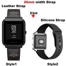 Купить с кэшбэком Leather Bracelet Strap 20MM Men Women Smart Watch Pulsera Correa Watchband Silicone Wrist Band Quick release Watch Accessories