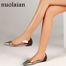 be0a13fbaef 2019 Spring Summer Women PVC Clear Sandals Woman Flat Sandal Shoes Womens  Pointed Toe Flats Lady