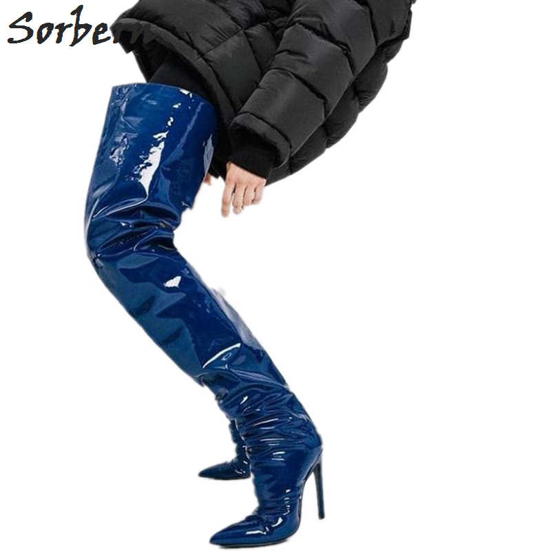 4299c2c0e87 Sorbern Blue Metallic Crotch Thigh High Boots For Women Extreme Long Boots  Ladies Super High Heel Stilettos Custom Color Size 11