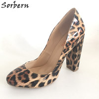 Sorbern Leopard Shiny PU Women Pumps Round Toe Square Chunky High Heels Custom Ladies Shoes Exclusive Size 45 OL Dress Shoes
