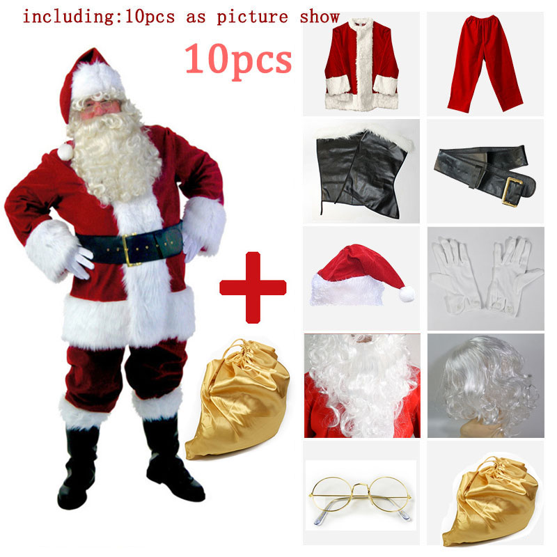 HOT! 10 Piece Christmas Santa Claus Costume Adult Santa Suit Halloween cosplay Fancy Cloth Xmas Cosplay Props Men Christmas Set
