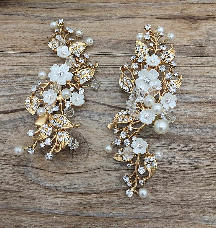 2pcs/lot  pearl flower handmade hair clip bridal crown tiara wedding style jewelry alloy rhinestone crown