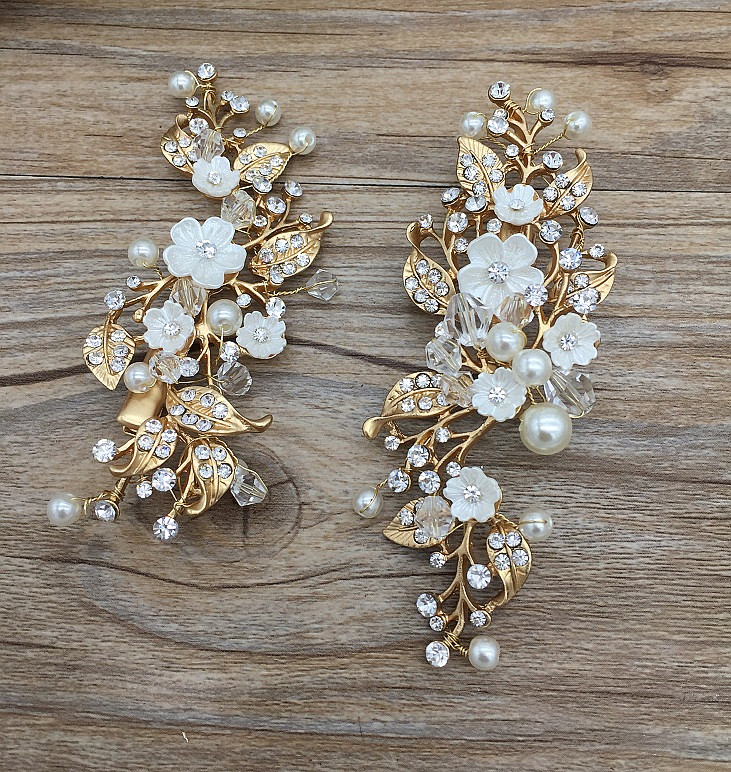 2pcs/lot pearl flower handmade hair clip bridal crown tiara wedding style jewelry alloy rhinestone crown цена 2017