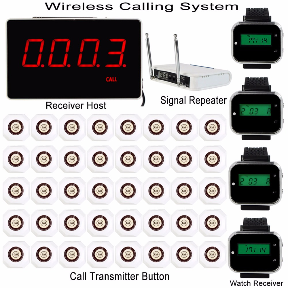 Wireless Calling System With Receiver Host +4pcs Watch Wrist Receiver +Signal Repeater +40pcs Call Transmitter Button Pager