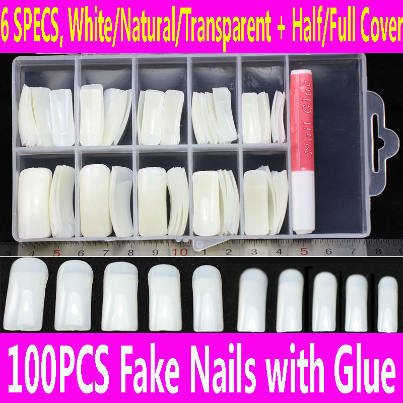 100pcs False Nails Case Set French Clear Acrilic Artificial Fake ...