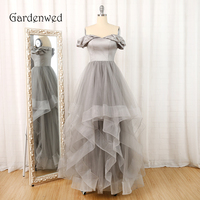 Gardenwed Gray Long Dress Evening Elegant Off the Shoulder Tulle Woman Formal Gowns Dresses robe soiree