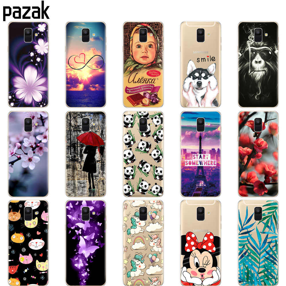 Silicone case For Samsung Galaxy A6 2018 case Dual SIM SM A600 A600F for samsung A6 plus 2018 A605 A605F protective pattern bags