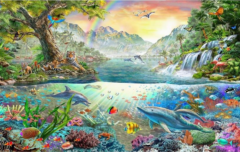 3D Stereoscopic Wall Murals ocean world dolphin Wallpaper For Living room Bedroom Safa Tv Backdrop Wallpaper book knowledge power channel creative 3d large mural wallpaper 3d bedroom living room tv backdrop painting wallpaper