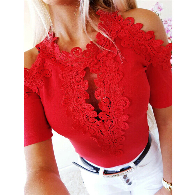Women Lace Blouse Fashion Short Sleeve Blouses Top Casual Off Shoulder Blouse Tops Womens Blouses And Tops Casual Ladies Shirts 5