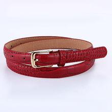 Thin Strap Gold Pin Buckle Women PU Leather Belt