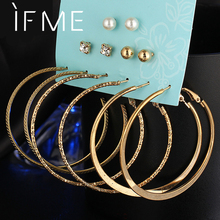 IF ME Crystal Stud Earrings for Women Gold Silver Color 6 Pairs/Set Trendy Circle Beads Ear Piercing Studs Brincos Charm Jewelry