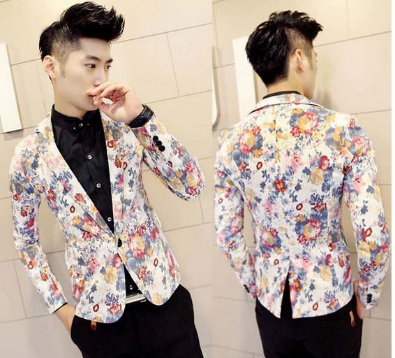 New Mens Unique Charming Multi Color Floral Skinny Fit Smart Casual