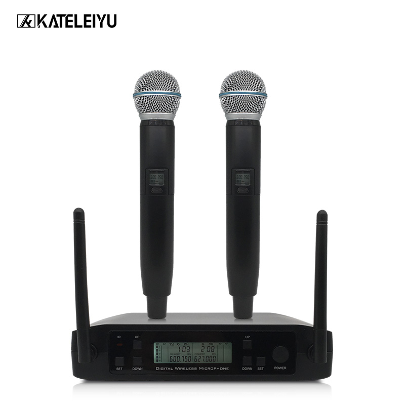 Professional Dual Handheld Wireless Microphone System UHF Adjustable Frequency Wireless Microphone Balanced + Unbalanced Output bardl us 132 2 channels uhf infrared frequency lcd 200 frequency adjustable wireless microphone handheld lavalier headset