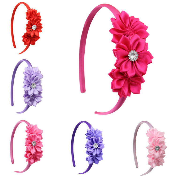 1 pcs new fashion baby girl  flower headband baby kids hair flower band headwear children hair accessories metting joura vintage bohemian green mixed color flower satin cross ethnic fabric elastic turban headband hair accessories
