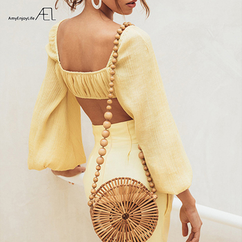 AEL Retro Royal Chic Off Shoulder Boat Neck Ladies Bra Blouse Fashion Bishop Sleeve Short Tops Elastic Bust with Lining