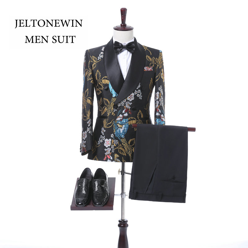 2018 New Brand Bridegroom Men Suit With Pants Fashion Printed Double Breasted Tuxedo Pro ...