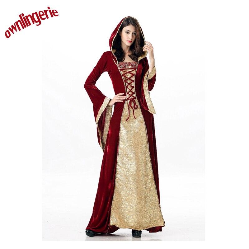 Costume d'halloween de luxe Royal médiéval longue robe adulte dames Costume avec petit chaperon rouge dans le jour du carnaval w1942