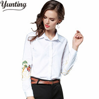 2017 Floral Embroidery Blouse Shirt Women Casual Long Sleeve Shirts Femme White Soft High Quality Female